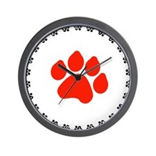 Red Paw Print Wall Clock