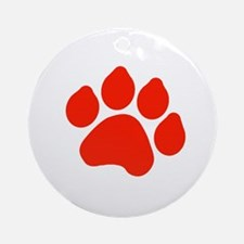 Red Paw Print Ornament (Round)