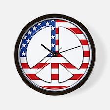 Peace sign American flag Wall Clock