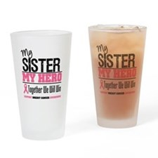BreastCancerHero Sister Drinking Glass