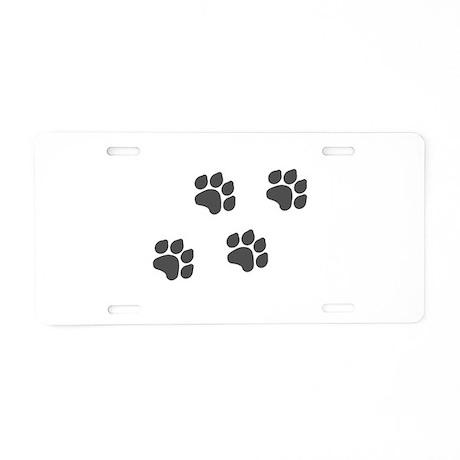 Black Paw Prints Aluminum License Plate
