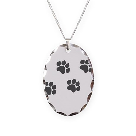 Black Paw Prints Necklace Oval Charm