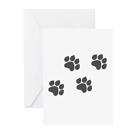 Black Paw Prints Greeting Cards (Pk of 10)
