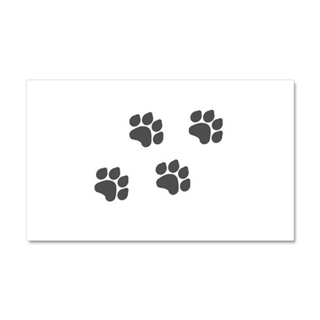 Black Paw Prints Car Magnet 20 x 12