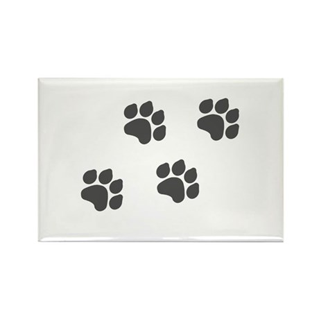 Black Paw Prints Rectangle Magnet (100 pack)