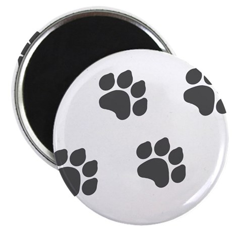 "Black Paw Prints 2.25"" Magnet (100 pack)"