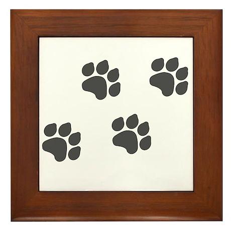 Black Paw Prints Framed Tile
