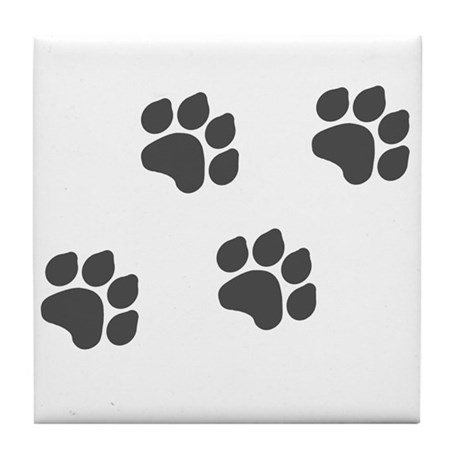 Black Paw Prints Tile Coaster