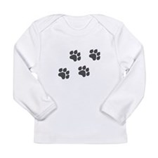 Black Paw Prints Long Sleeve Infant T-Shirt