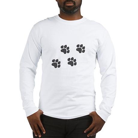 Black Paw Prints Long Sleeve T-Shirt