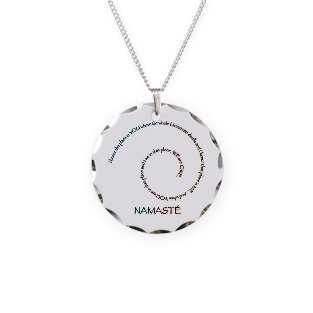 Meaning of Namaste Necklace Circle Charm by Visualizations