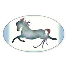 blue moon horse & hearts Oval Decal