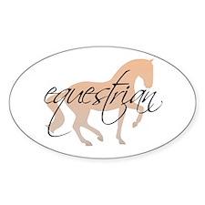 equestrian (w/ piaffe horse) Oval Decal