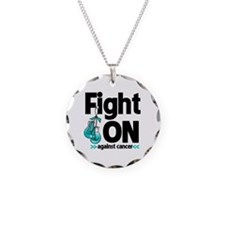Fight On Cervical Cancer Necklace Circle Charm