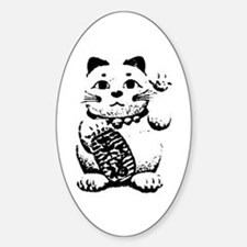 Maneki Neko Oval Decal