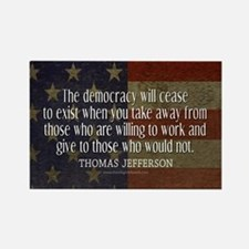 Jefferson Democracy Quote 2 Rectangle Magnet