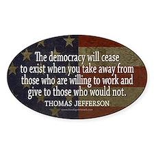 Jefferson Democracy Quote 2 Decal