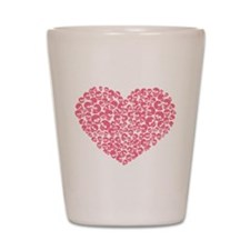 Pink Heart of Skulls Shot Glass