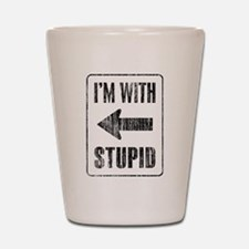 Vintage I'm With Stupid [l] Shot Glass
