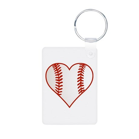 I Heart Baseball Graphic Aluminum Photo Keychain