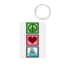 Peace Love Sharks Aluminum Photo Keychain