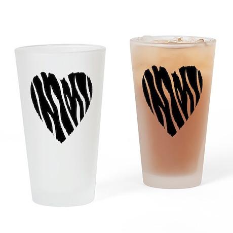 Zebra Fur Heart Drinking Glass