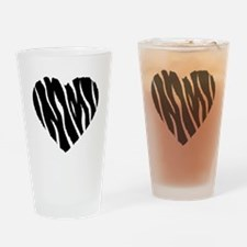 Zebra Fur Heart Drinking Glass