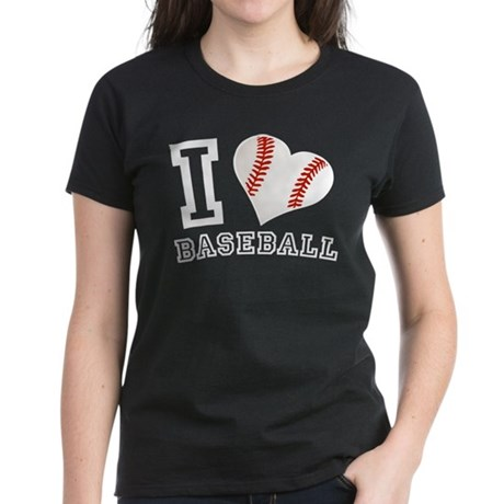 I Love Baseball Graphic Women's Dark T-Shirt