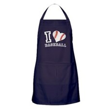 I Love Baseball Graphic Apron (dark)