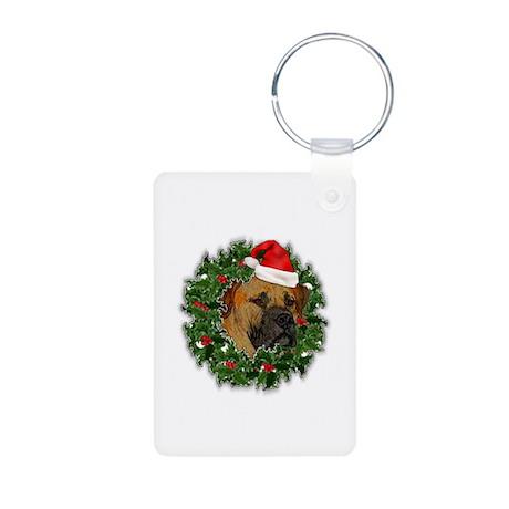 Boerboel Merry Christmas Aluminum Photo Keychain