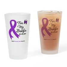 Cute I wear purple ribbon for my brother Drinking Glass