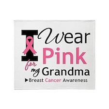 I Wear Pink Grandma Throw Blanket