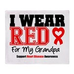 I Wear Red Grandpa Throw Blanket