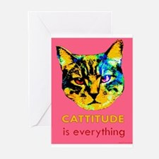 Cattitude in pink Greeting Cards (Pk of 10)