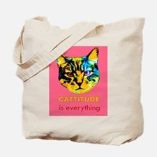 Cattitude in pink Tote Bag
