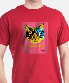 Cattitude in pink T-Shirt