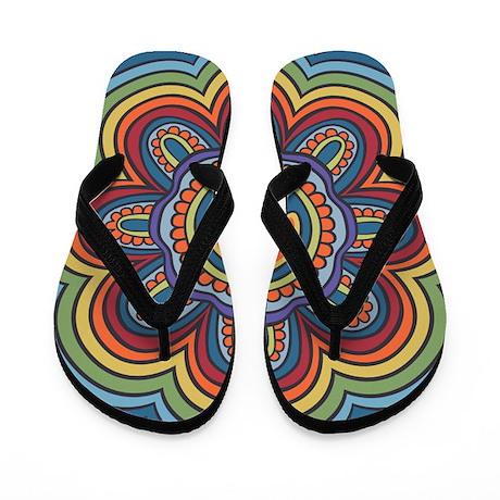 Hippie Peace Flower Flip Flops
