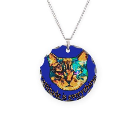 Cattitude in blue Necklace Circle Charm