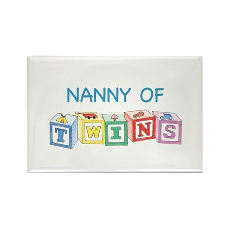 Nanny of Twins Blocks Rectangle Magnet