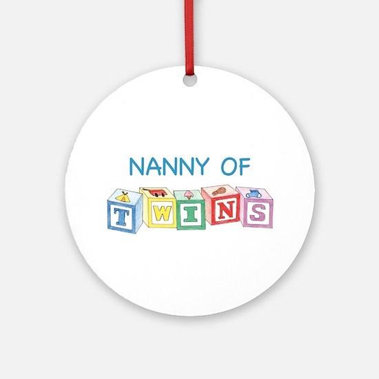Nanny of Twins Blocks Ornament (Round)