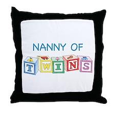Nanny of Twins Blocks Throw Pillow