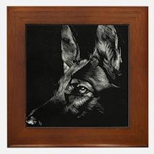 Dramatic German Shepherd Framed Tile