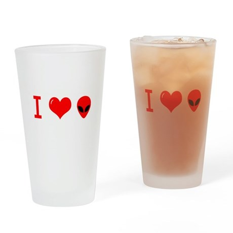 I Love Alien Drinking Glass