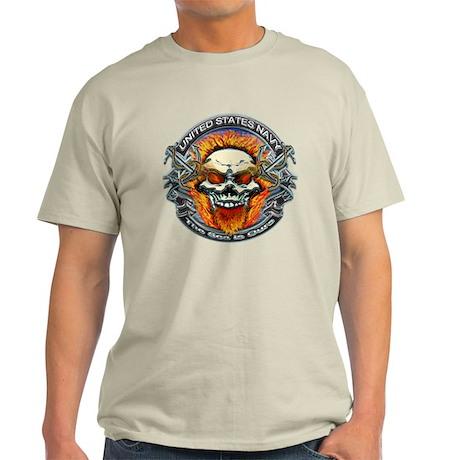 USN Navy Flaming Skull Light T-Shirt