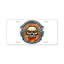 USN Navy Flaming Skull Aluminum License Plate