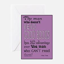 Twain Good Books Purple Greeting Card