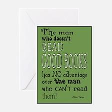Twain Good Books Green Greeting Card