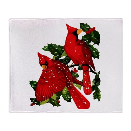 Snow Cardinals Throw Blanket