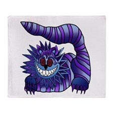 Mad Cheshire Cat Outline Throw Blanket