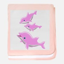 Pink Dolphin baby blanket